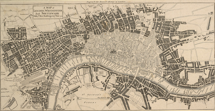 A MAP of LONDON, WESTMINSTER And SOUTHWARK With ye New Buildings to ye Year 1764